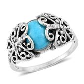 Artisan Crafted Arizona Sleeping Beauty Turquoise Sterling Silver Ring (Size 8.0) TGW 2.57 cts.