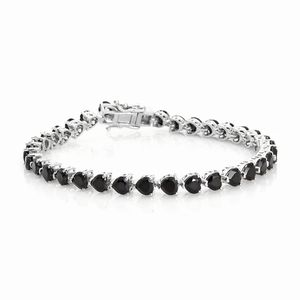 TLV Thai Black Spinel Platinum Over Sterling Silver Bracelet (8.00 In) TGW 16.17 cts.