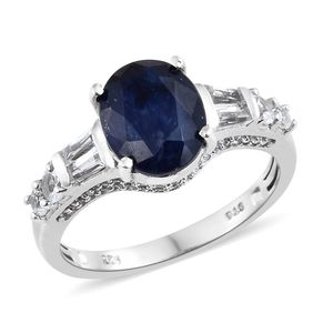 Customer Appreciation Day Masoala Sapphire, White Topaz Platinum Over Sterling Silver Ring (Size 10.0) TGW 7.19 cts.