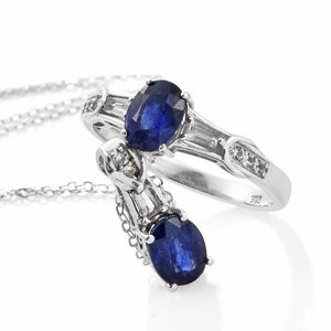 Masoala Sapphire, White Topaz Platinum Over Sterling Silver Ring (Size 10) and Pendant With Chain (20 in) TGW 4.21 cts.