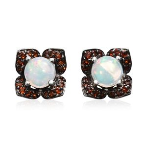 Ethiopian Welo Opal, Mozambique Garnet Platinum Over Sterling Silver Stud Earrings TGW 2.28 cts.