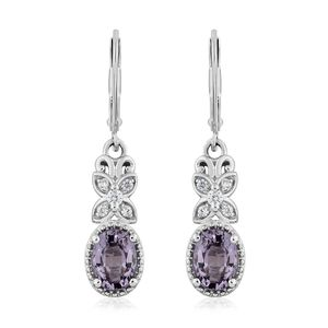 Burmese Lavender Spinel, Cambodian Zircon Platinum Over Sterling Silver Lever Back Drop Earrings TGW 2.06 cts.