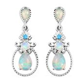 Ethiopian Welo Opal, Neon Apatite Platinum Over Sterling Silver Earrings TGW 1.366 Cts. TGW 1.37 Cts.