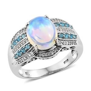 Ethiopian Welo Opal, Multi Gemstone Platinum Over Sterling Silver Ring (Size 7.0) TGW 3.62 cts.