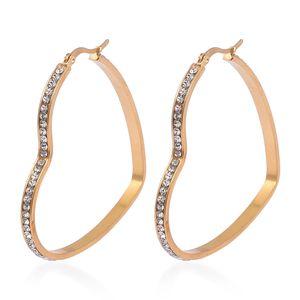 Simulated Diamond ION Plated YG Stainless Steel Heart Hoop Earrings