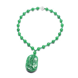 Budget Pay Bonanza Burmese Green Jade Sterling Silver Carved Under the Sea Necklace (18 in) TGW 730.00 cts.
