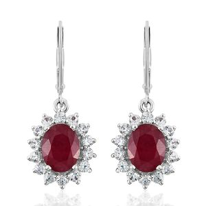 Niassa Ruby, Cambodian Zircon Platinum Over Sterling Silver Lever Back Earrings TGW 7.15 cts.