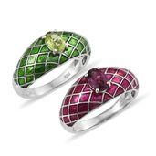 Orissa Rhodolite Garnet, Hebei Peridot Platinum Over Sterling Silver Set of 2 Ring (Size 5.0) TGW 1.70 cts.