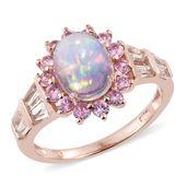 Ethiopian Welo Opal, Multi Gemstone Vermeil RG Over Sterling Silver Ring (Size 10.0) TGW 3.65 cts.