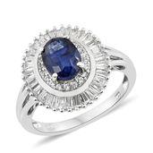 Masoala Sapphire, Cambodian Zircon Platinum Over Sterling Silver Ring (Size 10.0) TGW 4.20 cts.