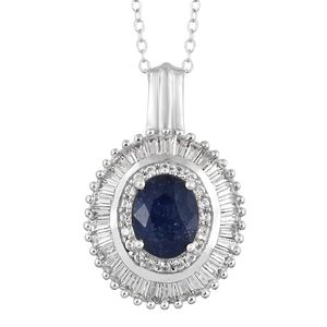 Masoala Sapphire, Cambodian Zircon Platinum Over Sterling Silver Pendant With Chain (20 in) TGW 4.50 cts.