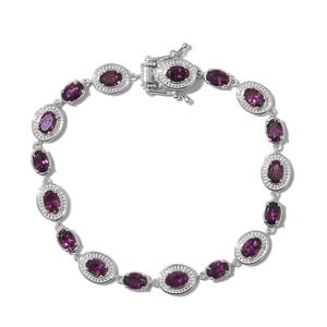 Orissa Rhodolite Garnet Platinum Over Sterling Silver Bracelet (7.50 In) TGW 10.00 cts.