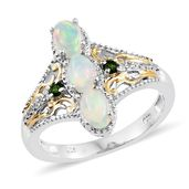 Ethiopian Welo Opal, Multi Gemstone 14K YG and Platinum Over Sterling Silver Openwork Ring (Size 7.0) TGW 1.31 cts.