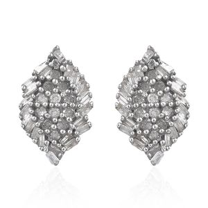 Diamond Platinum Over Sterling Silver Earrings TDiaWt 0.35 cts, TGW 0.35 cts.