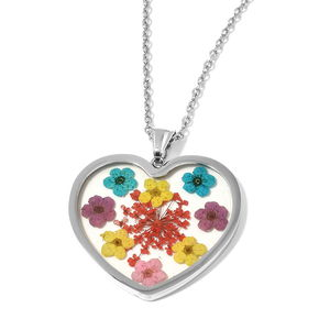 Flower Petal Chroma Stainless Steel Heart Pendant With Chain (20 in)