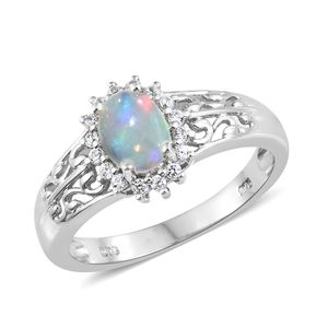 Ethiopian Welo Opal, Cambodian Zircon Platinum Over Sterling Silver Openwork Ring (Size 10.0) TGW 1.12 cts.