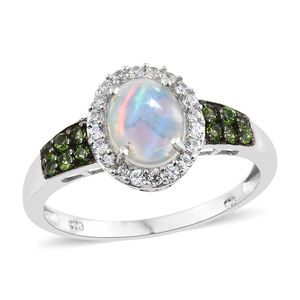 Ethiopian Welo Opal, Multi Gemstone Platinum Over Sterling Silver Ring (Size 6.0) TGW 1.71 cts.