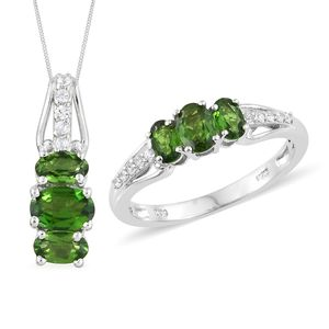 Russian Diopside, Cambodian Zircon Platinum Over Sterling Silver Ring (Size 10) and Pendant With Chain (20 in) TGW 2.10 cts.