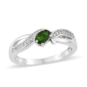 Russian Diopside, Cambodian Zircon Platinum Over Sterling Silver Ring (Size 6.0) TGW 0.71 cts.