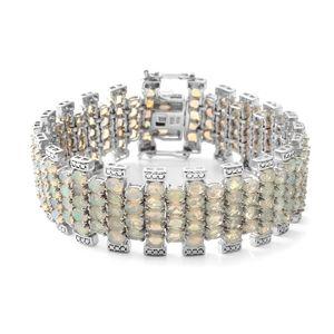 Ethiopian Welo Opal Sterling Silver Carpet Bracelet (7.50 In) TGW 21.78 cts.