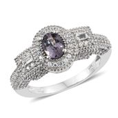 Nitin's Knockdown Deals Burmese Lavender Spinel, White Topaz, Cambodian Zircon Platinum Over Sterling Silver Ring (Size 7.0) TGW 1.94 cts.