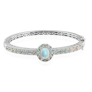 Ethiopian Welo Opal Platinum Over Sterling Silver Bangle (7.25 in) TGW 4.10 cts.