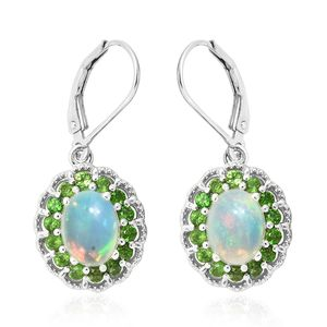 Ethiopian Welo Opal, Russian Diopside Platinum Over Sterling Silver Earrings TGW 3.66 cts.