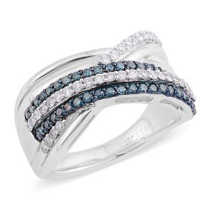 Blue Diamond (IR), Diamond Sterling Silver Criss Cross Band Ring (Size 7.0) TDiaWt 0.75 cts, TGW 0.75 cts.