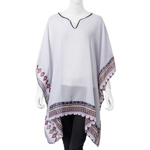 Gray 100% Polyester Floral Border Sheer Poncho (One Size)
