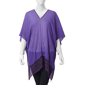 Purple 100% Polyester Summer Pleated and Lace Poncho (One Size)