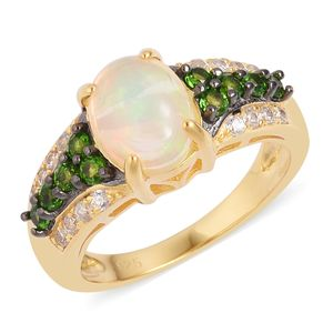 Ethiopian Welo Opal, Multi Gemstone Black Rhodium, 14K YG Over Sterling Silver Ring (Size 7.0) TGW 1.95 cts.