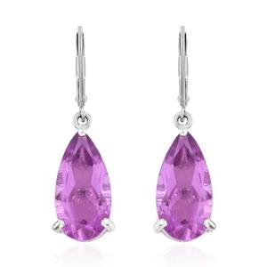 African Lilac Quartz Platinum Over Sterling Silver Lever Back Drop Earrings TGW 9.36 cts.