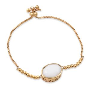 KARIS Collection - ION Plated 18K YG Brass Bolo Bracelet (Adjustable) Made with SWAROVSKI White Alabaster Crystal Total Gem Stone Weight 10.35 Carat (9.50 In)