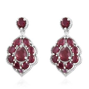 Niassa Ruby, Ruby Platinum Over Sterling Silver Dangle Earrings TGW 7.21 cts.