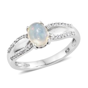 Ethiopian Welo Opal, Cambodian Zircon Platinum Over Sterling Silver Ring (Size 9.0) TGW 1.15 cts.