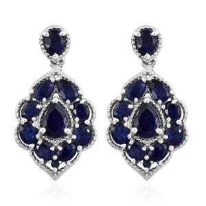 Masoala Sapphire, Kanchanaburi Blue Sapphire Platinum Over Sterling Silver Dangle Earrings TGW 7.20 cts.