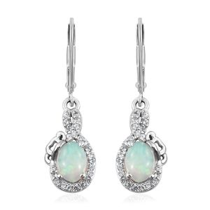 Ethiopian Welo Opal, Cambodian Zircon Platinum Over Sterling Silver Lever Back Earrings TGW 1.20 cts.