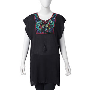Black 100% Viscose Floral Embroidered Blouse with Tassels (One Size)