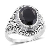 Bali Legacy Collection Thai Black Spinel, White Zircon Sterling Silver Ring (Size 10.0) TGW 6.08 cts.