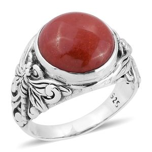 Bali Legacy Collection Burmese Red Jade Sterling Silver Dragonfly Ring (Size 6.0) TGW 9.48 cts.