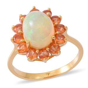 Ethiopian Welo Opal, Dark Orange Sapphire Yellow Rhodium Over Sterling Silver Ring (Size 6.0) TGW 4.00 cts.
