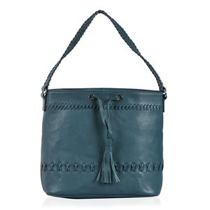 Teal 100% Genuine Leather RFID Hobo Drawstring Tassel Bag with Magnetic Snap Closure (15x4.5x11 in)