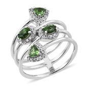 Emeraldine Apatite, Cambodian Zircon Platinum Over Sterling Silver Spring Bypass Ring (Size 7.0) TGW 1.56 cts.