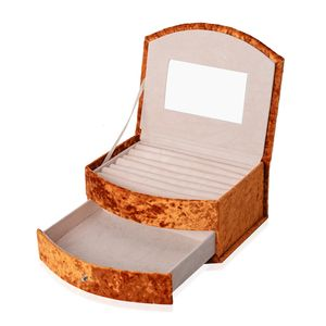 Orange Velvet 2-Tier Studded Chroma Jewelry Box with Drawer and Mirror (8.25x3.5x5.25 in)