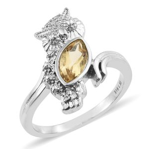 Brazilian Citrine Stainless Steel Owl Bypass Ring (Size 8.0) TGW 1.00 cts.
