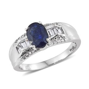 Masoala Sapphire, White Topaz Platinum Over Sterling Silver Ring (Size 5.0) TGW 3.18 cts.