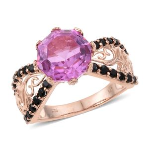 African Lilac Quartz, Thai Black Spinel Vermeil RG Over Sterling Silver Ring (Size 11.0) TGW 7.58 cts.