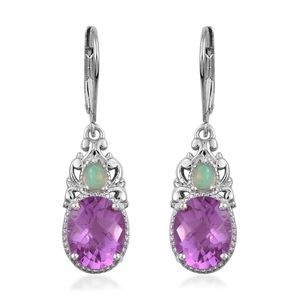 African Lilac Quartz, Ethiopian Welo Opal Platinum Over Sterling Silver Earrings TGW 5.87 cts.