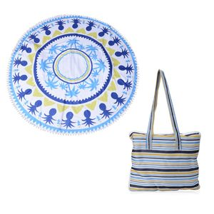 2 in 1 Palm and Pineapple Pattern 20% Cotton and 80% Viscose Multi Purpose Towel (82x29 in) and Striped Tote