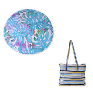 2 in 1 Leaf Pattern 20% Cotton and 80% Viscose Multi Purpose Towel (82x29 in) and Striped Tote